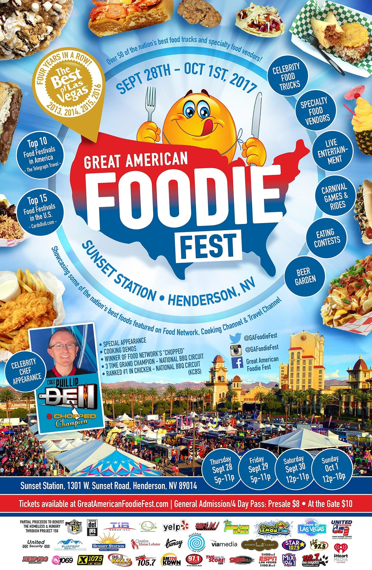 Chef Phillip Dell's Food track will be at the Great American Foodie Fest Sept 28 through October 1.