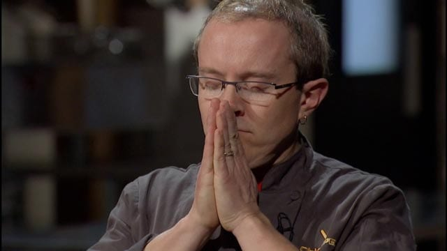 Moments after offering up a final prayer, Chef Phillip Dell is declared Chopped Champion.