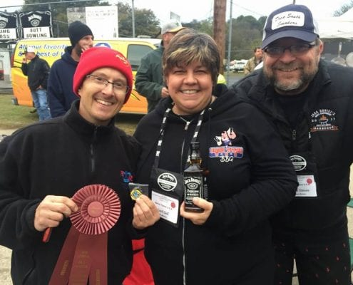 Chef Dell and the Swine Thyme USA BBQ Team with their 3 awards at The Jack Daniels Barbeque Invitational in 2017