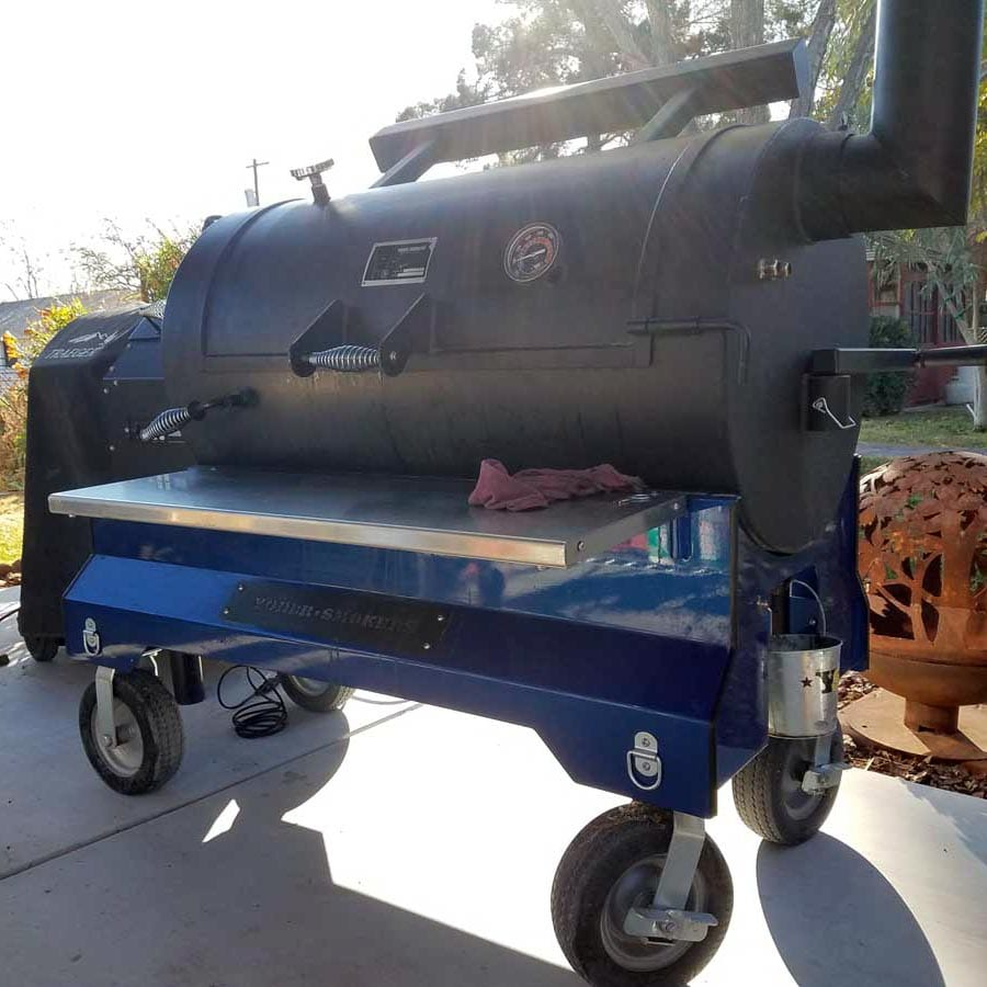 Chef Phillip Dell offset Texas style smoker